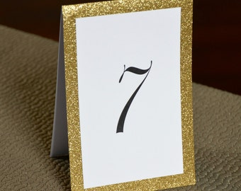 """Gold Glitter Design - Tented Table Numbers - 4 x 6"""" - also available in Silver Glitter"""