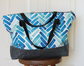 Blue Herringbone Tote Bag