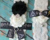 Harry Potter Inspired Wedding Garter,Garter,Hogwarts House,Ravenclaw Lace Garter,Garter,Plus Size Garter,Harry Potter Fan,Geeky Wedding