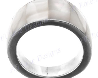 White Mother Of Pearl Shell 925 Silver Band Us 6 Ring