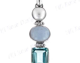 "1 3/4"" Topaz Chalcedony Biwa Pearl 925 Sterling Silver Pendant"