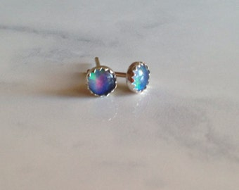 Opal and Sterling Silver Stud Earrings