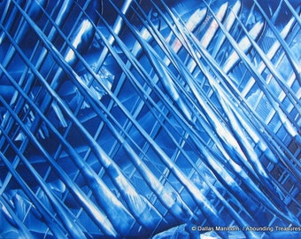 4X6 Blue Icicles Encaustic (Wax) Original Abstract Painting. Industrial. Miniature Abstract Art. SFA (Small Format Art)