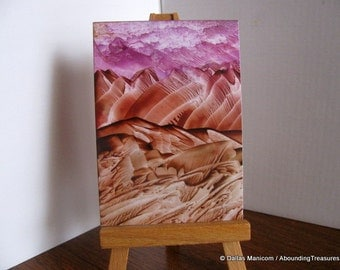 Inventory Clearance ACEO Pink Sky. Encaustic Wax Original Art. Rust Brown, Burnt Sienna, Pink Violet. SFA (Small Format Art) Collectible Art
