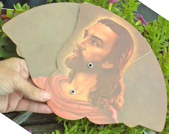The Saviour - Lithograph Trifold Paper Fan of Jesus - Funeral Fan Advertising memorablia The Savior