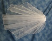 White 23 Inch Long First Communion Veil Satin Fabric Flowers on Clip Barrette Narrow White Pencil Edge  32799