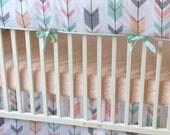 Peach Gray and Mint Arrows Crib Bedding Bumperless Set