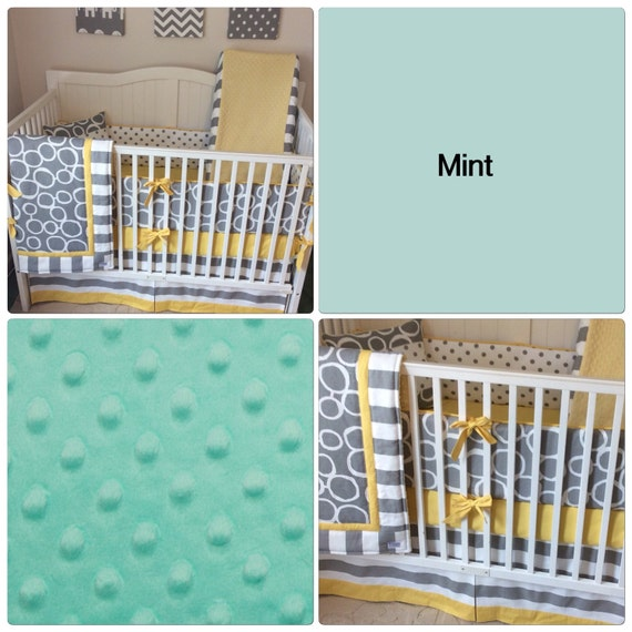 Crib Bedding Set Gray White Mint