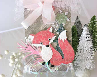 Little Red Fox Holiday XL Deluxe Art Gift Tag~green~winter white~pink~red~hang tags~gift bag swag~pretty packaging