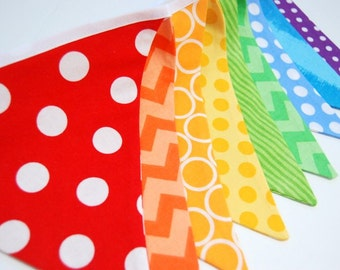 Rainbow Birthday Party Decoration, Bunting Banner - Baby Boy or Girl Shower, Cake Smash, Kid's Photo Prop -- Fabric, Cloth Flags -- SALE