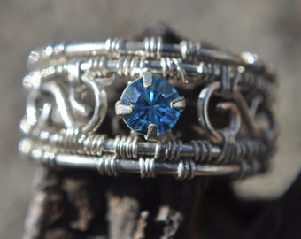 Aquamarine Crystal Filigree Ring Size 6