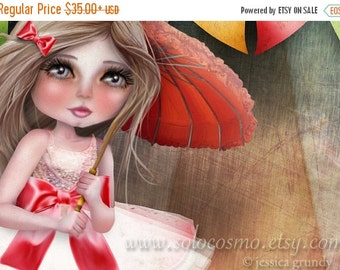 "Labor Day SALE Fine Art Print ""Asia and Snow at the Circus"" 11x17 or 13x19  - Circus Performer Tight Rope Walker Girl and Maltese Puppy - Nu"