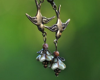 Fly Little Sparrow Earrings Redux with Antique Gold finish real brass swallows, makes a great gift, nature, jewelry for summer!