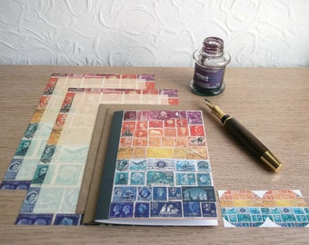 Sunset Writing Set | Orange Blue Postage Stamp Letter Set, Stationery | Penpal Notepaper & Card | Postal Stamps, World Travel Theme Note Set