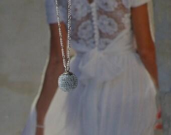 wedding necklace  globe blue serenity