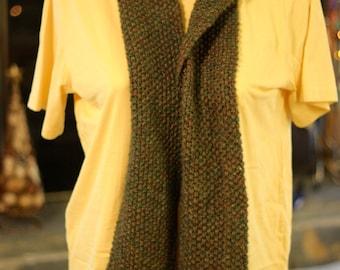 Hand Knit Seed Stitch Fringed Scarf