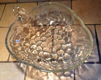 Crystal Clear Heavy Glass Apple Fruit Bowl