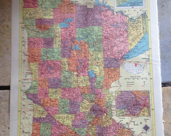 Political Map of Minnestoa Antique Illustration