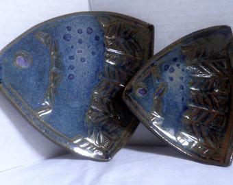 handmade Ceramic Angelfish dishes, set of 2