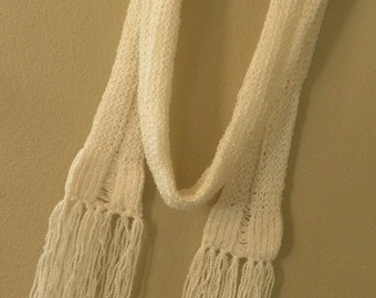 handknit Creamy White Scarf, soft boucle' yarn with shimmering accents, long scarf
