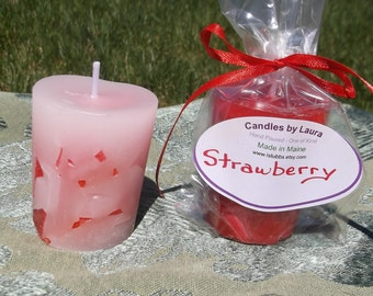 6 Strawberry votive candle hand poured scented