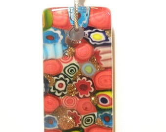 Red and Jewel Tones Millefiori Lampwork Rectangle Pendant and Ribbon Necklace