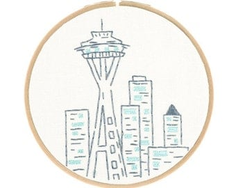 SEATTLE'S SPACE NEEDLE embroidery kit - embroidery hoop art, travel souvenir, west coast diy kit, hand embroidery kit by StudioMME