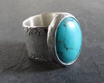 Sterling silver turquoise ring / size 8.5 / unique ring / gemstone ring / handmade ring / oxidized silver ring / rustic ring / gift for her