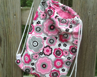 Sweet Quilted Backpack for Toddler Drawstring Closure, Pink and Gray Grey