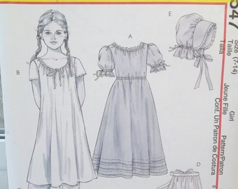 Girl's Prairie Dress and Bonnet Costume McCall's M4547 Sewing Pattern, Chemise, Pantaloons, Apron, Early American Size 7 - 14 UNCUT