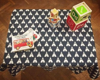 Teepee Kids Tablecloth: Rectangle, Square, Round, Custom Size, Dinner, Party, Wedding, Runner, Throw Pillow, Napkins, Curtains