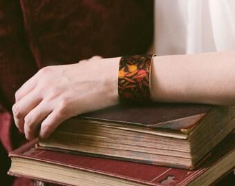 Pomegranate Brass Cuff Bracelet - Fruit Bracelet - William Morris Textile Fabric - Rustic Jewelry - Anniversary Gift - Boho Bracelet