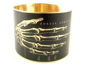 Anatomical Hand Arm Skeleton Brass Cuff Bracelet - Bone Jewelry - Osteopathic Gifts - Cool Doctor Gifts - Vintage Illustrations