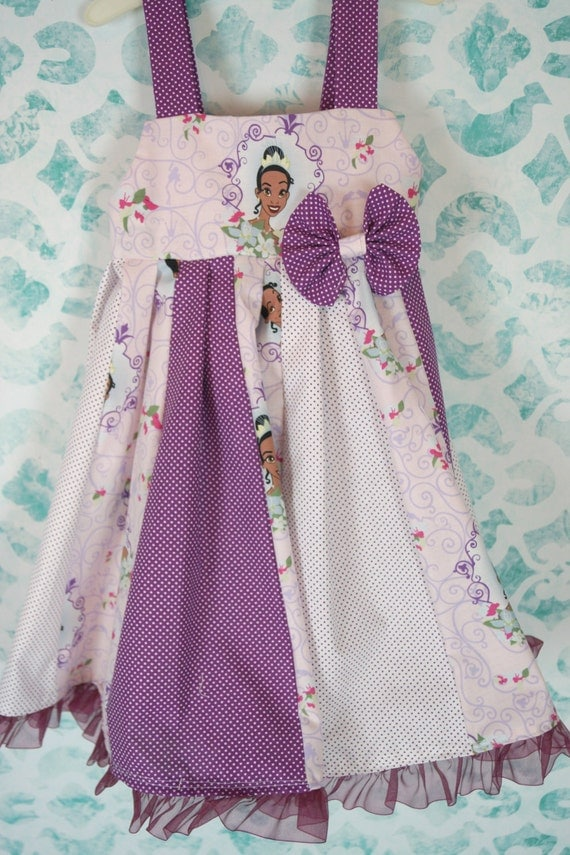 custom boutique twirl dress made with disney Tiana fabric 2-6