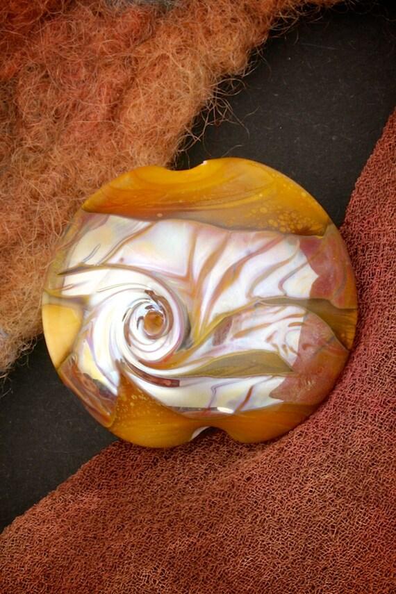 "SRA Handmade Lampwork Beads ""Proteus"" Organic Lustre & Texture Silver Glass Lentil Focal"