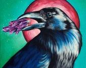 Art print 'Crystal Crow', 16 X 16 inch