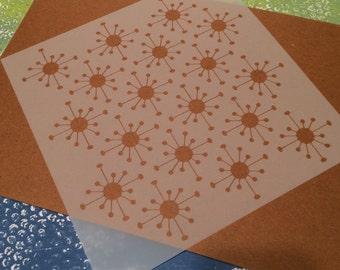 Square 8.75 inch stencil - Starburst, retro