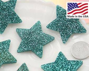 40mm Aqua Blue Glitter Stars Resin Cabochons - 5 pc set