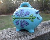 Chalkware Pig Piggy Bank--Turquoise Flower Power Piggy Savings Bank--Seventies Retro Bank--Spare Coin Change Bank
