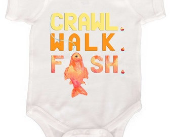Cute Fishing Baby Bodysuits Infant Rompers to  T shirts
