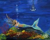 """MERMAID ART  Mermaids Art Print Giclee Mermaid Painting Print Ocean Art Fantasy Art Print """"Waiting For Her True Love"""" Leslie Allen Fine Art"""