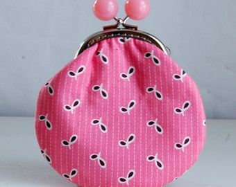 Pink Fancy Eyelet Large Coin Purse Change Pouch with Metal Kiss Clasp Lock Frame - READY TO SHIP