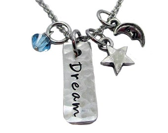 Dream Charm Necklace - Hand Stamped Pewter