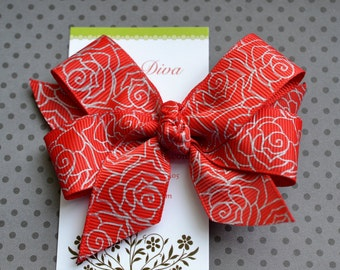 Red with Silver Roses Classic Diva Bow