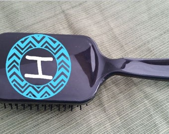 Monogram Paddle Hair Brush Chevron with Initial