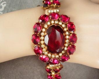 Gorgeous Ruby Pink Czech Bracelet huge Glass Bracelt Signed Czechoslovakia bracelet Vintage bracelet antique bracelet filigree safety chain