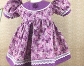 """Made For American Girl 18"""" Dolls Spring Easter Hydrangea Print Short Sleeved Dress Purple Orchid Polka Dot Accents Matching Hair Bow"""