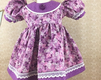"Made For American Girl 18"" Dolls Spring Easter Hydrangea Print Short Sleeved Dress Purple Orchid Polka Dot Accents Matching Hair Bow"