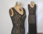 SALE Black Batten Lace Dress / party wedding / Small