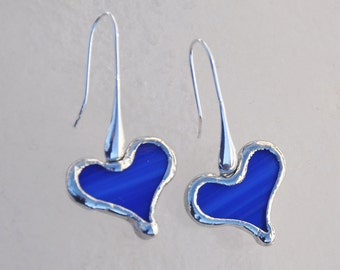 Ultra marine blue glass heart earrings with Sterling